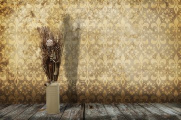 altes Zimmer mit Trockenstrauß