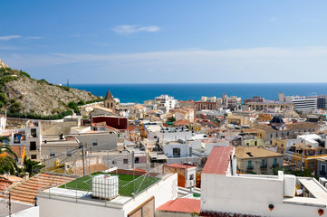 Panoramic view of Santa Cruz neighborhood, Alicante (Spain)