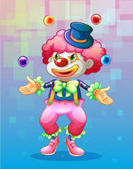 A clown with four colorful balls