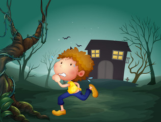 A boy running in the middle of the night