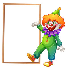 A clown pointing at the white board