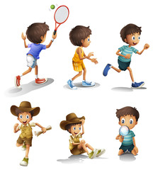 Boys with different activities