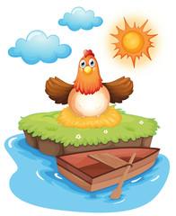 A chicken hatching eggs in an island