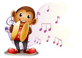 A monkey playing with the cymbals