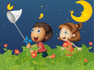 Kids catching butterflies under the bright moon