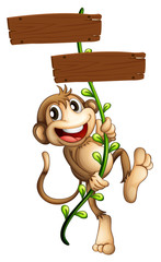 A monkey holding the two wooden signboards