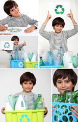 Collage of a boy recycling