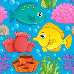 Poster Submarine Seamless background sea theme 1