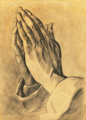 two hands in prayer pose. pencil drawing.