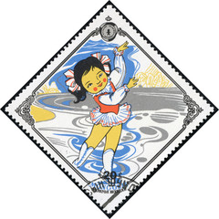 stamp printed in Mongolia shows girl skater