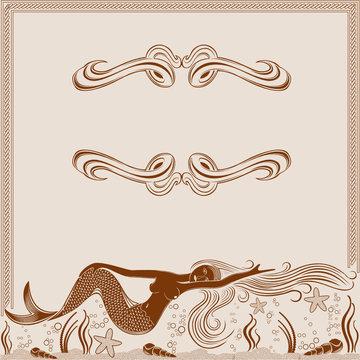 mermaid engraving marine background