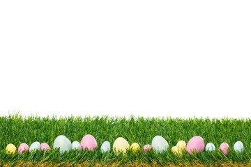 Pastel Easter Eggs on Grass