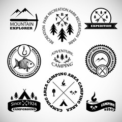 Camping labels set.