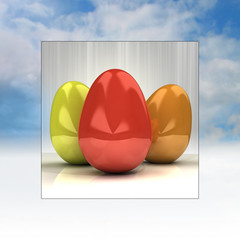 sky background easter card frame with colorful eggs