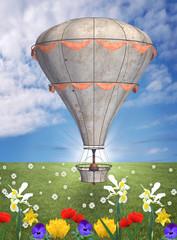 Steam punk balloon in a spring meadow