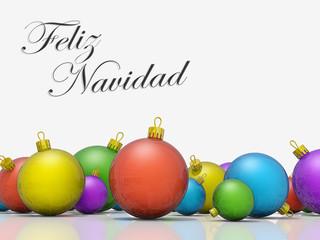Christmas ornaments row Merry Christmas Spanish Language