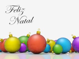 Christmas ornaments row Merry Christmas Portuguese Language