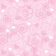 Seamless pattern with pink flowers and hearts