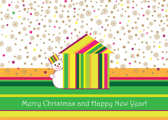 Christmas and New Year greeting card with snowman and house