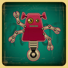 Printed roller blinds Robots Card in retro style with the robot.
