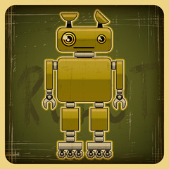 Poster de jardin Robots Card in retro style with the robot.