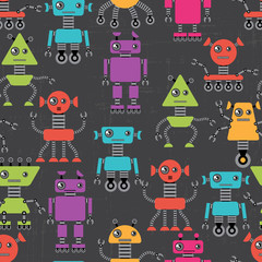 Foto op Canvas Robots Cartoon robots seamless pattern.