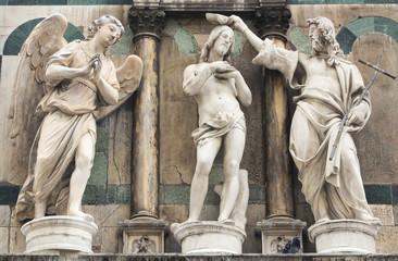 Baptême du Christ, 3 statues, Florence