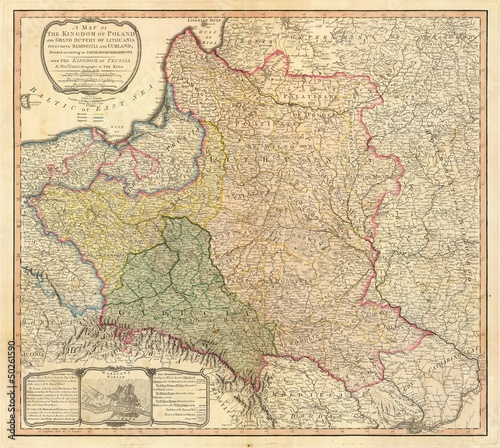 Wall mural Poland old map
