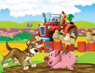 Foto op Canvas Boerderij The life on the farm - illustration for the children
