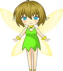 Foto auf Gartenposter Die magische Welt Vector Illustration of cute green little fairy