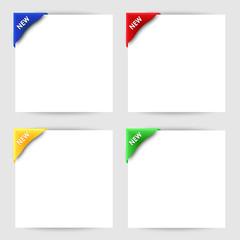 New clip corner on white paper