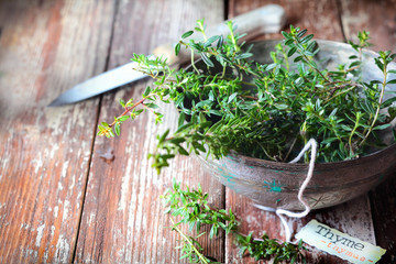 Bowl of fresh thyme