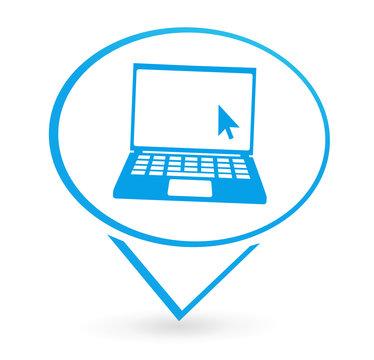 ordinateur portable sur signet bleu