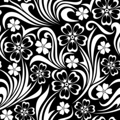 Photo on textile frame Floral black and white Seamless floral pattern. Vector illustration.