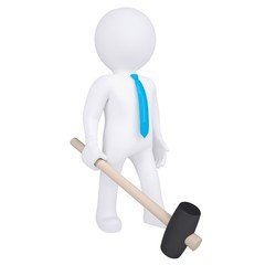 3d white man with a hammer