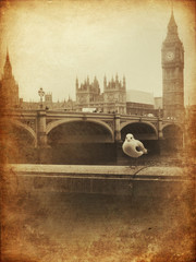 Wall Mural - Vintage Retro Picture of Big Ben / Houses of Parliament (London)