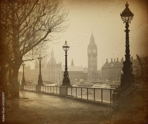 Fotomurales Vintage Retro Picture of Big Ben / Houses of Parliament (London)