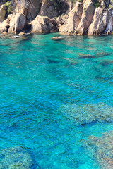 Lagoon with blue water and rocks