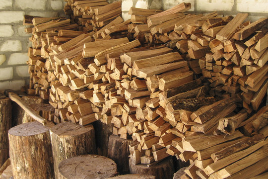 Pile of firewood in woodshed