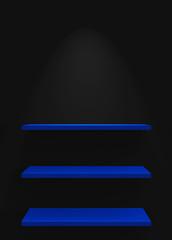 Drei Regale an Wand mit Beleuchtung - Schwarz Blau