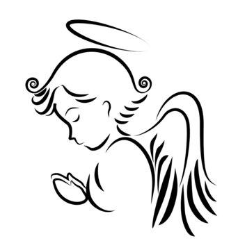 Angel praying logo vector