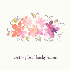 Flowers. Floral watercolor background.