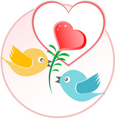 red love bird with heart balloons over beige background