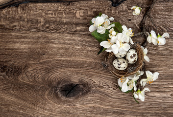 flowers and easter nest with eggs on wooden background