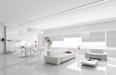 Interior of modern white apartment 3d