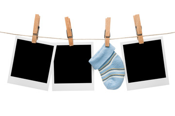Blank polaroid baby sock