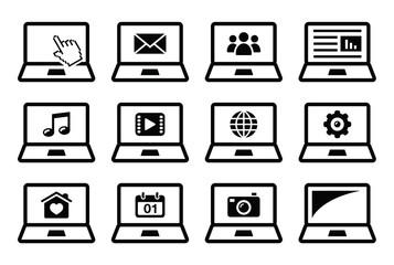 Laptop black vector icons set