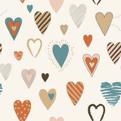 Vector Seamless Pattern with Colored Heart Shapes
