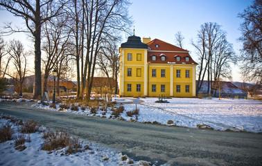Beautiful house in snowy scenery in polish village