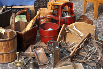 bucket and other things for sale in the antique market